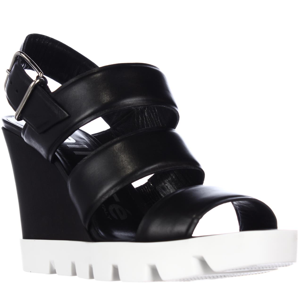 Womens Kalliste 5253 Lug Sole Strappy Wedge Sandals, Black