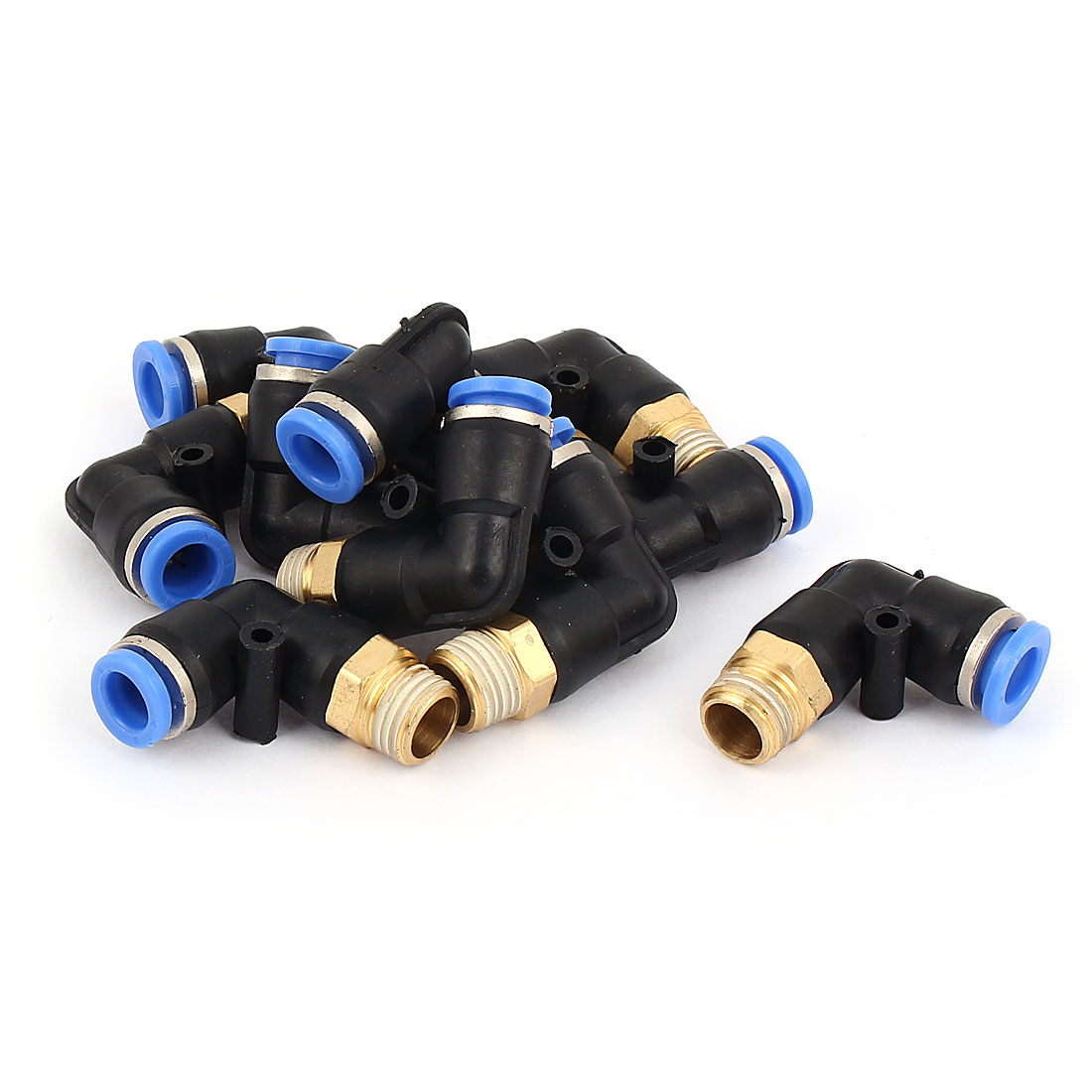 "10 Pcs 8mm Hole Dia 1/4"" PT Thread Push In Tube Pneumatic Quick Fittings"