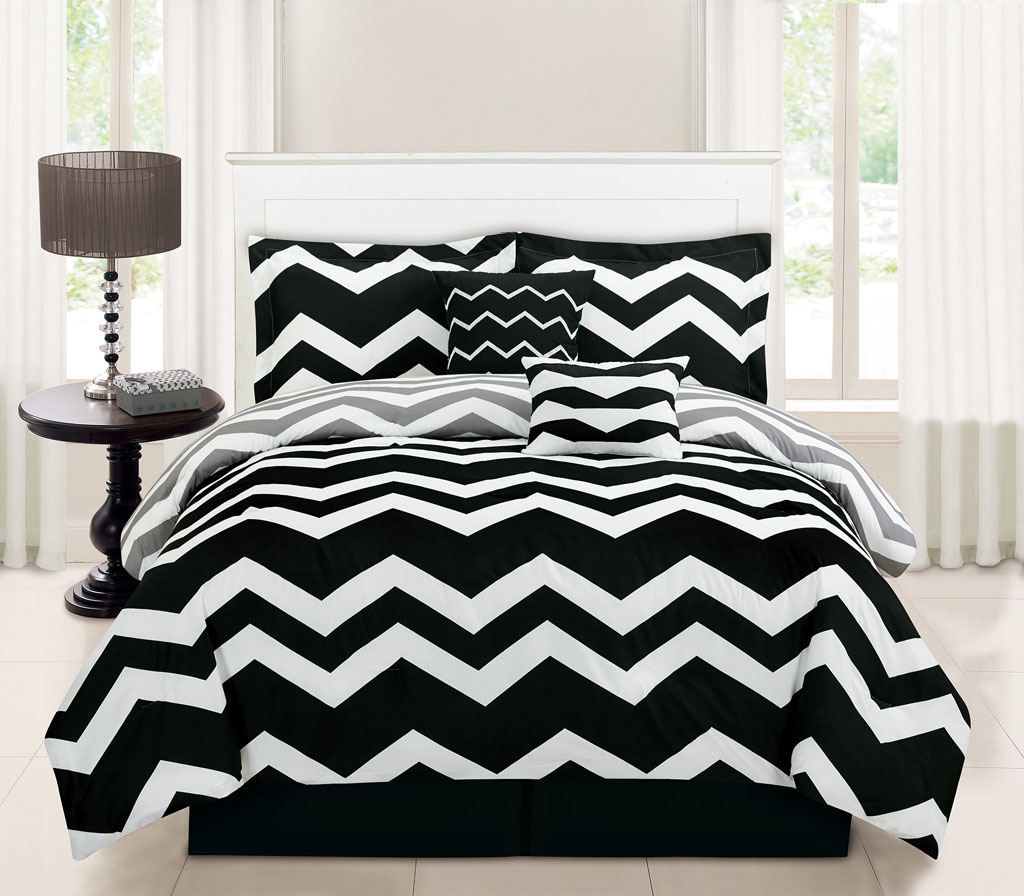 8 Piece Twin Chevron Black Bed In A Bag W 500tc Cotton Sheet Set