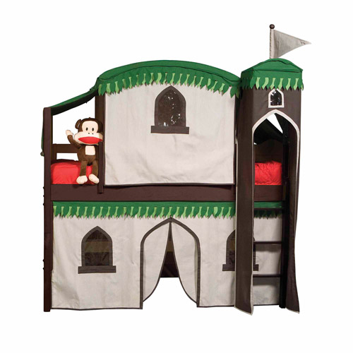 Bolton Furniture Mission Twin Low Loft Bed, Espresso, Treehouse Tower, Top Tent and Bottom Curtain