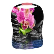 ECZJNT Pink orchid and and stones in the water Nursing Cover Baby Breastfeeding Infant Feeding Cover Baby Car Seat Cover