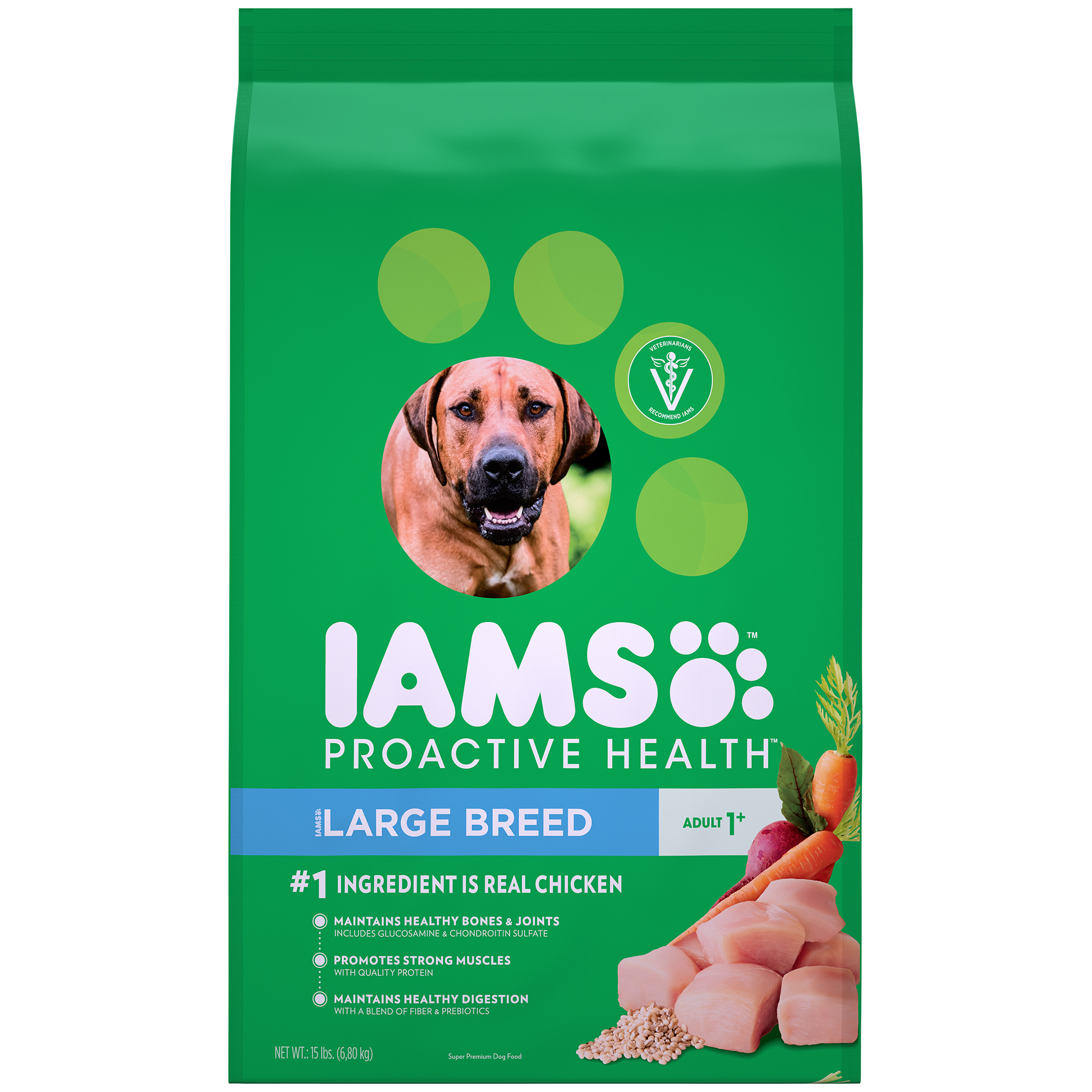 IAMS PROACTIVE HEALTH Adult Large Breed Dry Dog Food Chicken, 15 lb. Bag