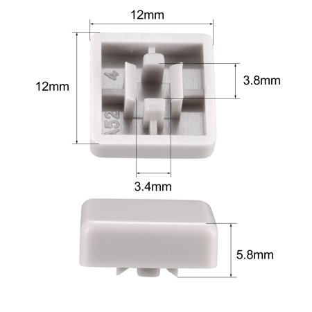 20Pcs Plastic 12x12mm Pushbutton Tactile Switch Caps Cover Keycaps Grey for 12x12x7.3mm Tact Switch - image 2 de 3