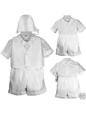 NEW INFANT BOY T CHRISTENING BAPTISM FORMAL VEST SHORTS WHITE  S,M,L,XL 2T 3T 4T