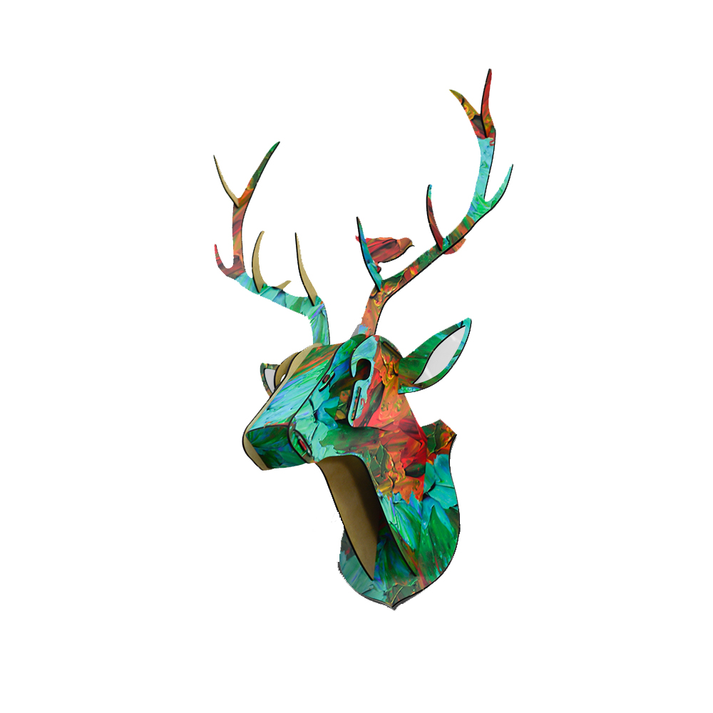 Print Wooden DIY 3D Puzzle Wildlife Animal Reindeer Head Jigsaw for Educational & Home Decoration Kids Brain... by