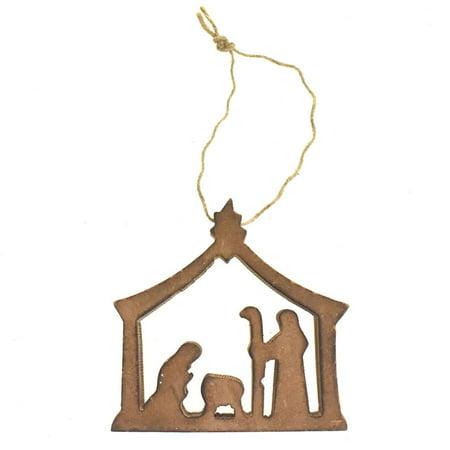 Wooden Nativity Scene Christmas Ornament, 3-Inch, Natural](Nativity Christmas Ornaments)