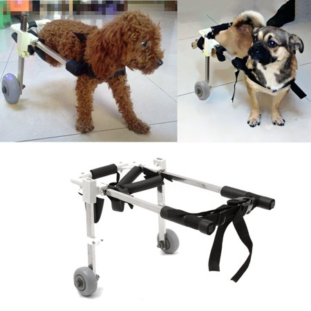 2-Wheels 10'' Dog Pet Wheelchair, Hind legs Rehabilitation Wheels  Cart Height Walk For Handicapped Leg Dog Stainless