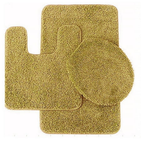 Surprising 3 Pc Gold Bathroom Set Bath Mat Rug Contour And Toilet Lid Cover With Rubber Backing 6 Interior Design Ideas Apansoteloinfo
