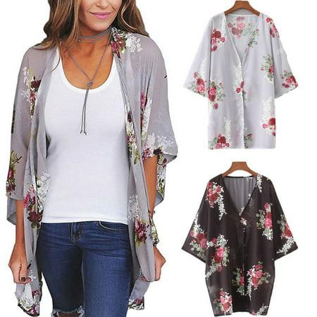 Women Floral Loose Shawl Vintage Kimono Cardigan Boho Chiffon Coat Jacket Blouse Black Black Black Shawl Collar Tuxedo Jacket