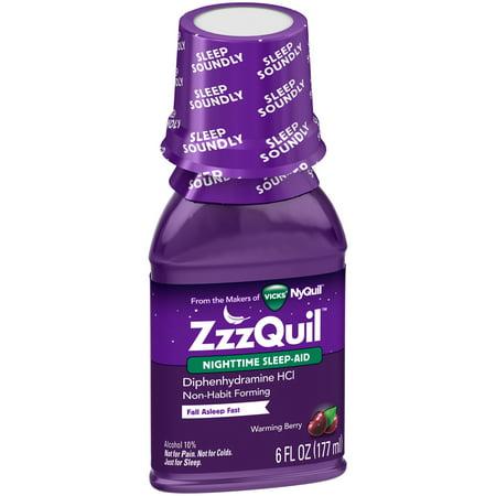 ZzzQuil Nighttime Sleep Aid, Warming Berry Liquid, 6 Fl Oz