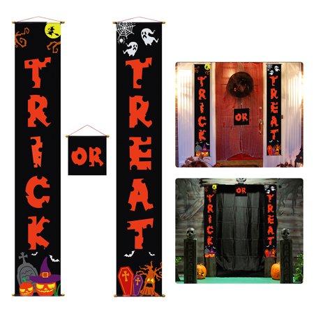 Halloween Trick Or Treat Door Sign (3PCS UNOMOR Halloween Trick or Treat Banner Home Door Sign or Outdoor)