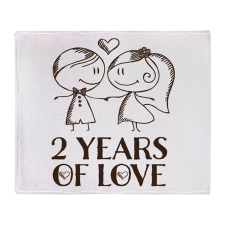 CafePress - 2Nd Anniversary Chalk Couple - Soft Fleece Throw Blanket, 50