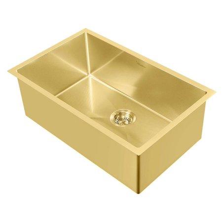 Single Bowl Linen Textured Dual-Mount Sink Set in Brass Finish (Bath Basin Finish)