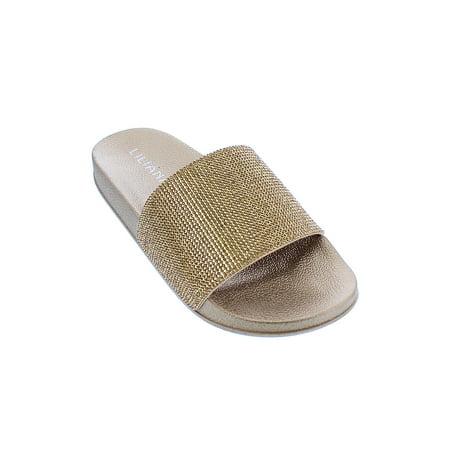 Womens Glitter Rhinestone Slide Sandal Shoes Slipper Blitz-1-6-Gold