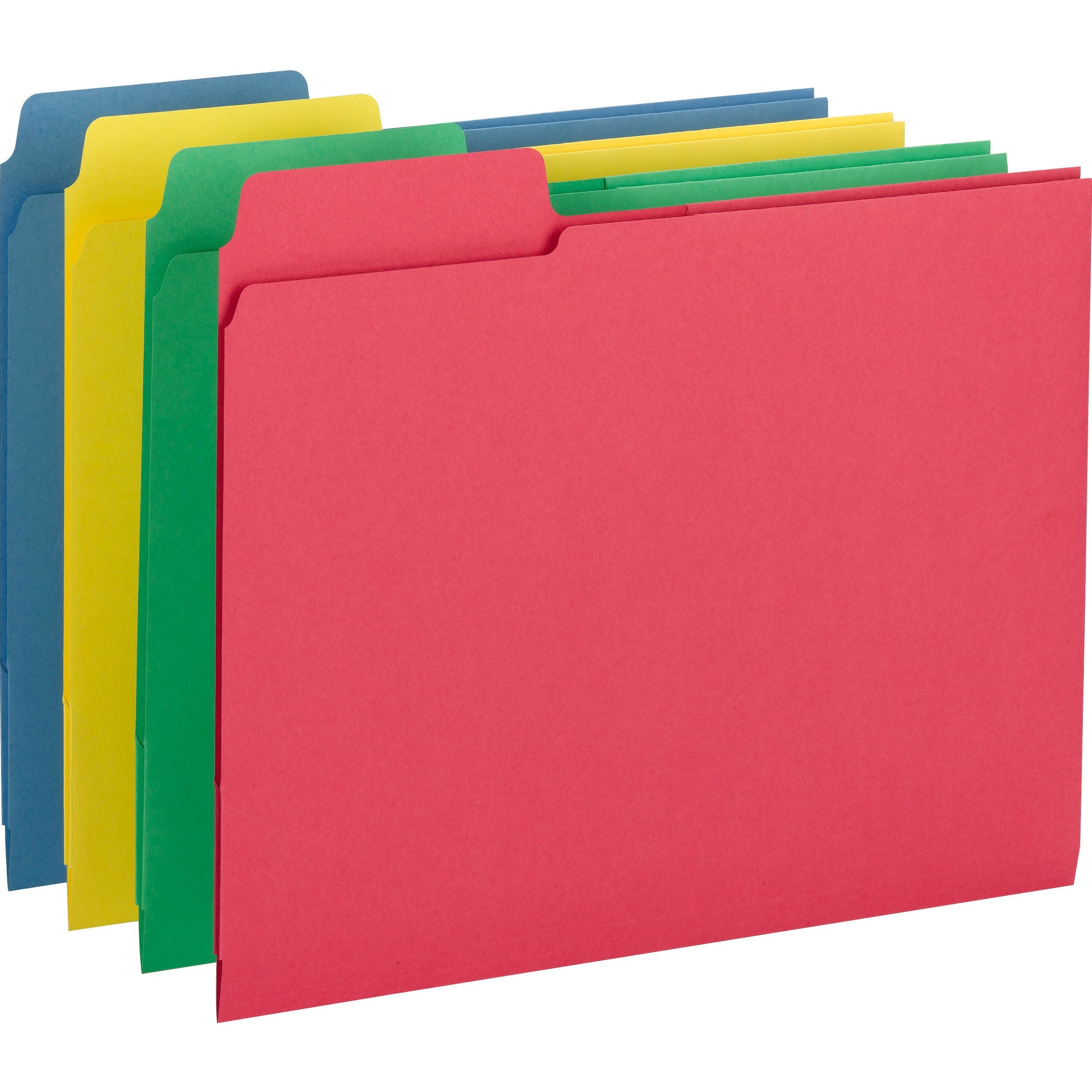 Smead, SMD11905, 3-in-1 Color SuperTab Section Folder, 12 / Pack, Blue,Red,Green,Yellow