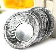 125Pcs Mini Shells Disposable Silver Foil Baking Cookie Muffin Cupcake Egg Mold Round Tins Pan for Kitchen DIY