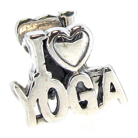 Queenberry Sterling Silver I Love Yoga European Style Bead Charm Fits Pandora (Yoga Charms)