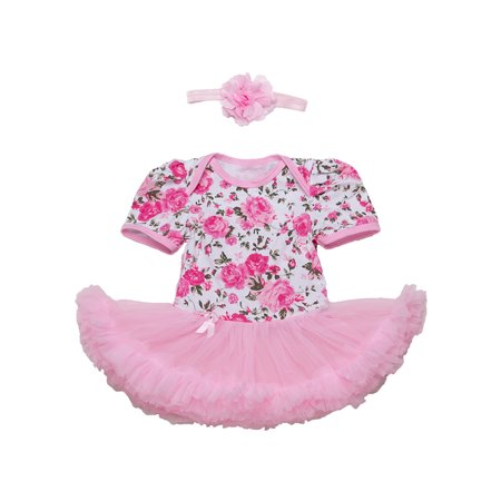 StylesILove Baby Girl Flower Print Short Sleeve Romper Tutu Dress with Matching Headband 2 pcs Set (95/18-24 Months, - Baby Pink Lady Jacket