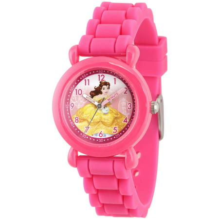 Disney Princess Belle Girls Pink Plastic Time Teacher Watch  Pink Silicone Strap