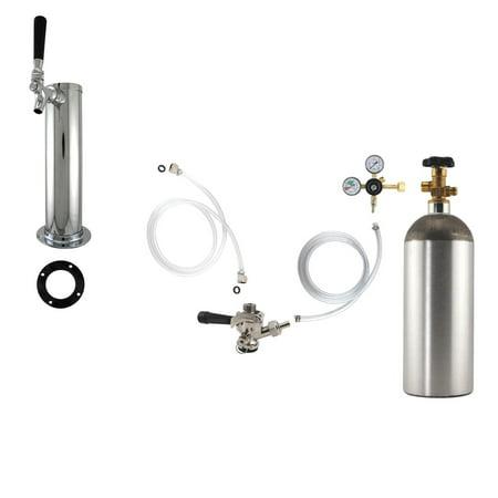 1 Faucet Tower Kegerator Conversion Kit   Chrome Tower   Us Sankey D System   5Lb Co2 Tank