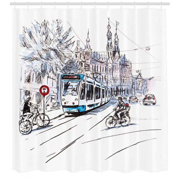 Sketchy Shower Curtain Hand Drawn Tram And Bicyclists Cityscape Of Amsterdam Netherlands Urban Life Fabric Bathroom Set With Hooks Blue Lilac White By Ambesonne Walmart Com Walmart Com