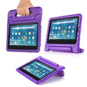 Shock Proof Case for All New Fire HD 7 Tablet (7th Gen, 2017 Release) - For Kid Friendly Child Proof Anti Slip Impact Drop Light Weight Convertible Handle Stand Cover Protective Case (Purple)