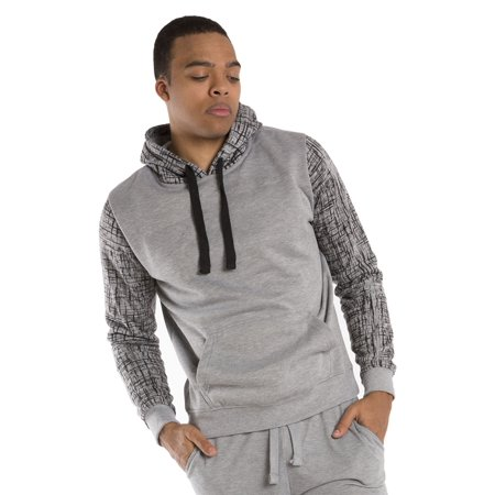 Vibes Mens Heather Grey Fleece Pullover Hoody Sweatshirt Printed Long Sleeve
