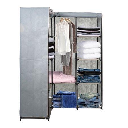 Karmas Product Portable Wardrobe Closets Organizer Cloth Closet Shelves L Shape Non Woven Fabric Cover E Saving Clothes Perfect For Bedroom