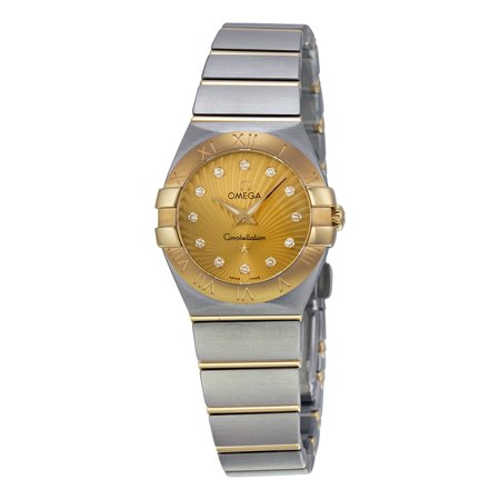 Omega Constellation Gold Dial Diamond Ladies Watch 123.20.24.60.58.001