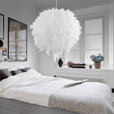 Fabric Chandelier Lamp - Modern Luxury Feather Ball E27 Ceiling Lamp Chandelier Pendant Light Shade Floor Lamp Decor Droplight for Home Living Room Bedroom Corridor or Great Hotels