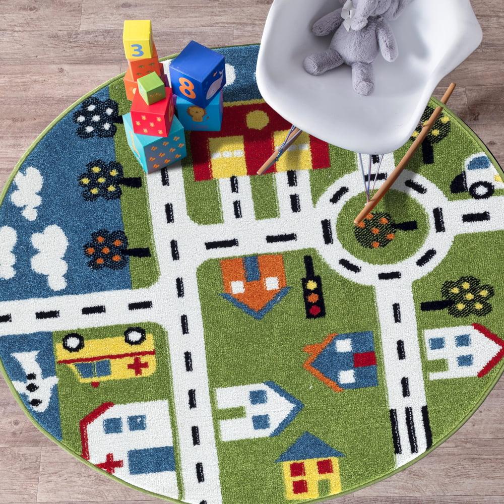 LR Home Whimsical City Car Street Green   Cream 4 ft. 8 in. Round Kids Olefin Machine Made Children's Kids... by LR Resources
