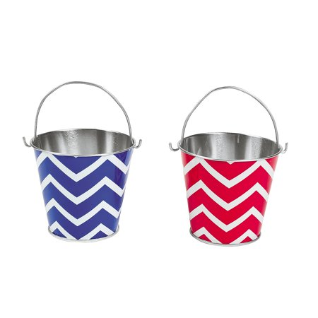 4th Of July Party Games (Fun Express - Red & Blue Chevron Metal Pails for Fourth of July - Party Supplies - Containers & Boxes - Metal Containers - Fourth of July - 12)