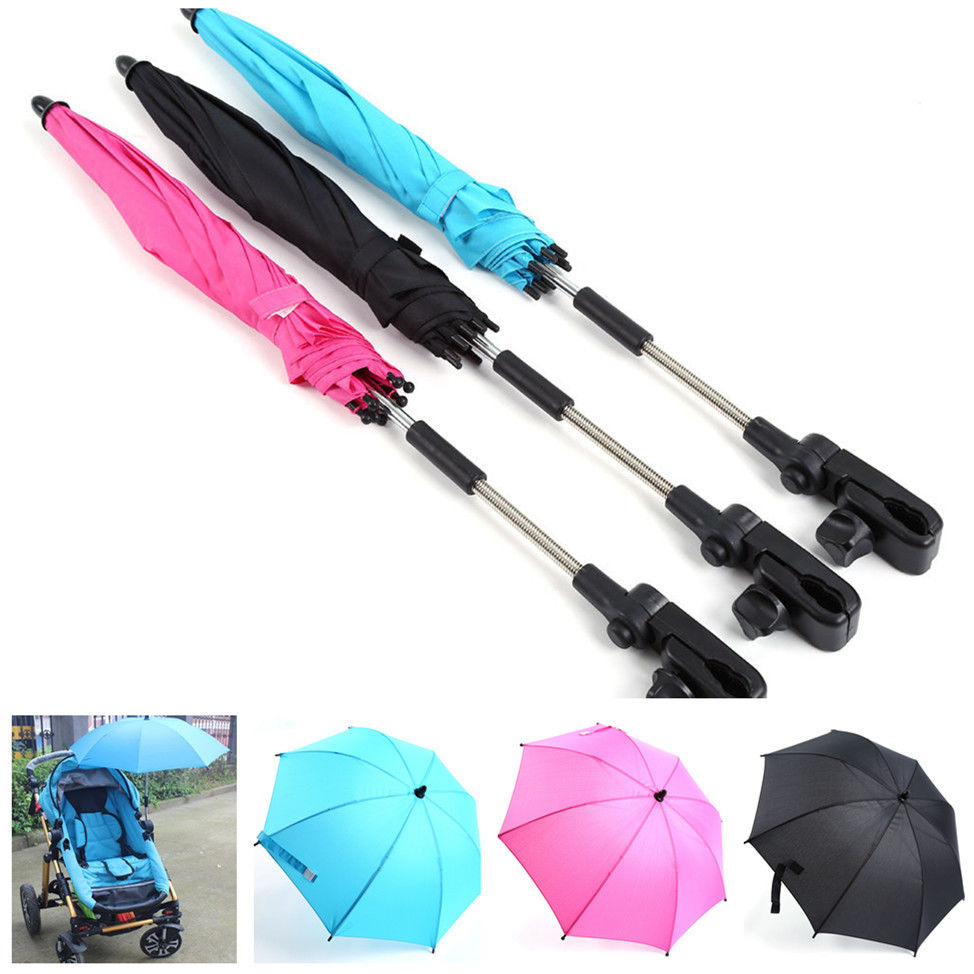 Pushchair Baby Stroller Umbrella and Holder UV Rays Rain Sun Canopy