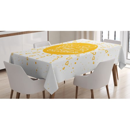 Quotes Decor Tablecloth, Rounded Sun Figure Rough Heart Shaped Beams Philosophy Textured Illustration Image, Rectangular Table Cover for Dining Room Kitchen, 60 X 90 Inches, Yellow, by
