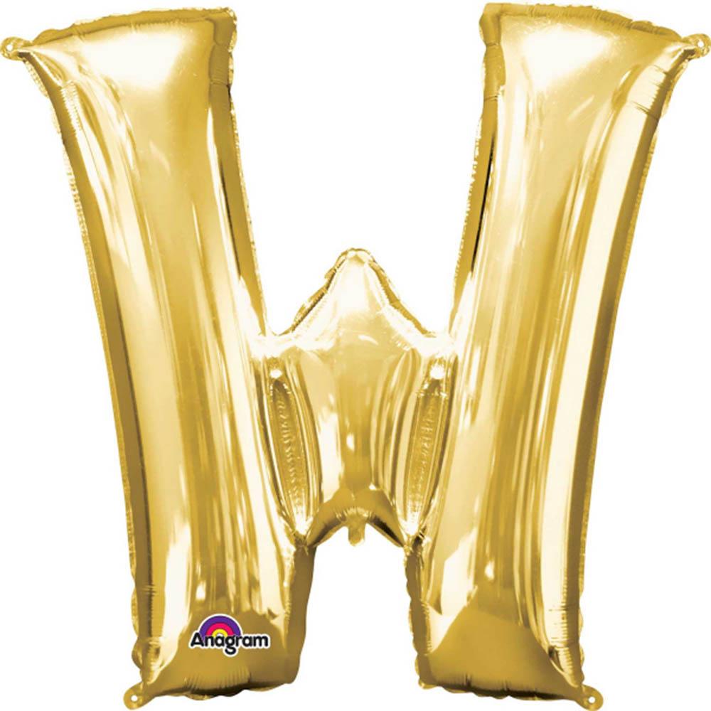 "Giant Gold Letter W Foil Balloon 33"""