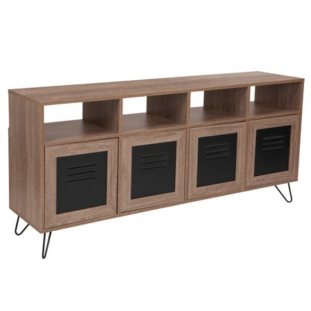"""Woodridge Collection Flash Furniture 85.5""""W Rustic Wood Grain Finish Console and Storage Cabinet with Metal Doors"""