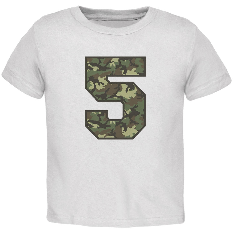 Birthday Kid Camo 5 5th Fifth White Toddler T-Shirt