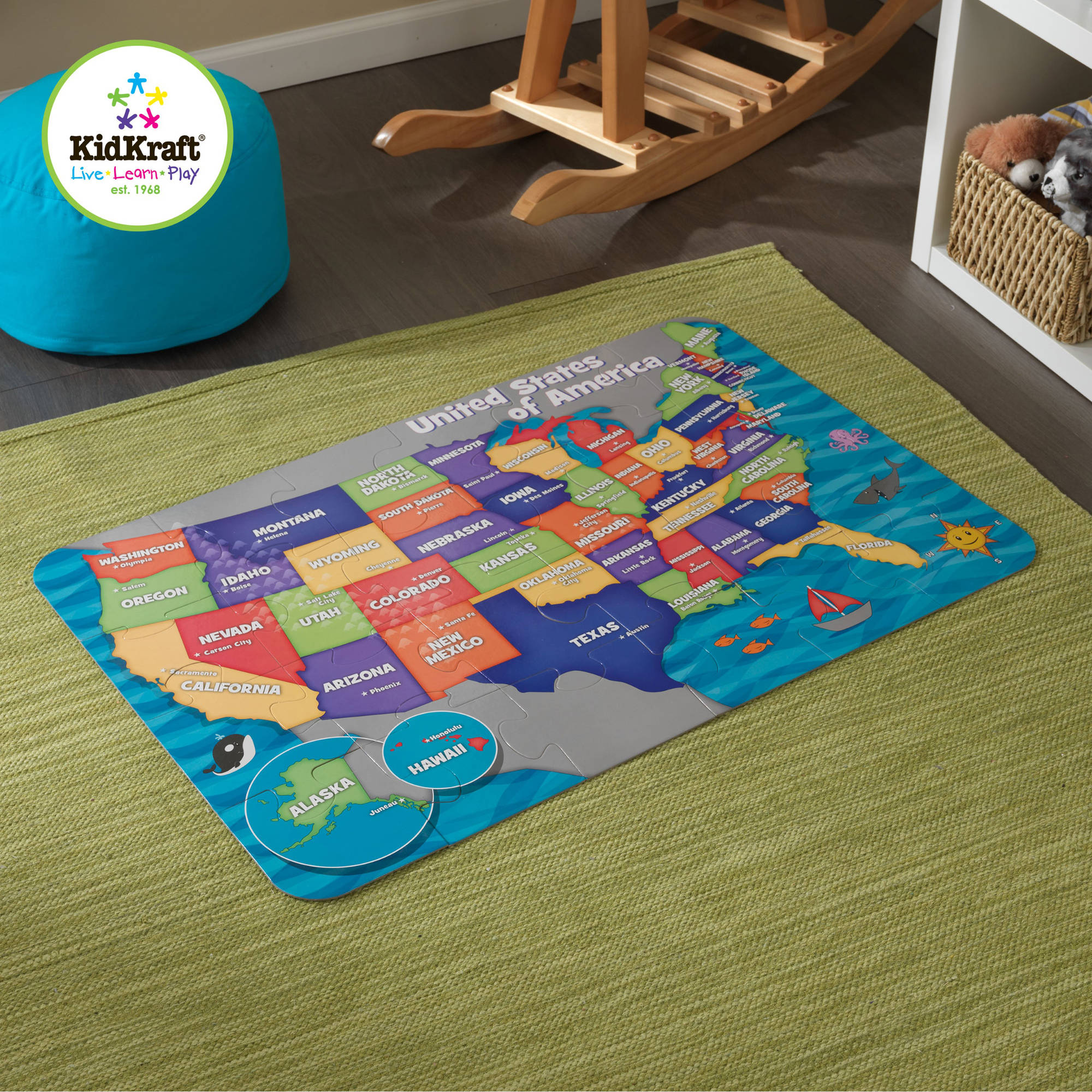 KidKraft Floor Puzzle Map of the USA