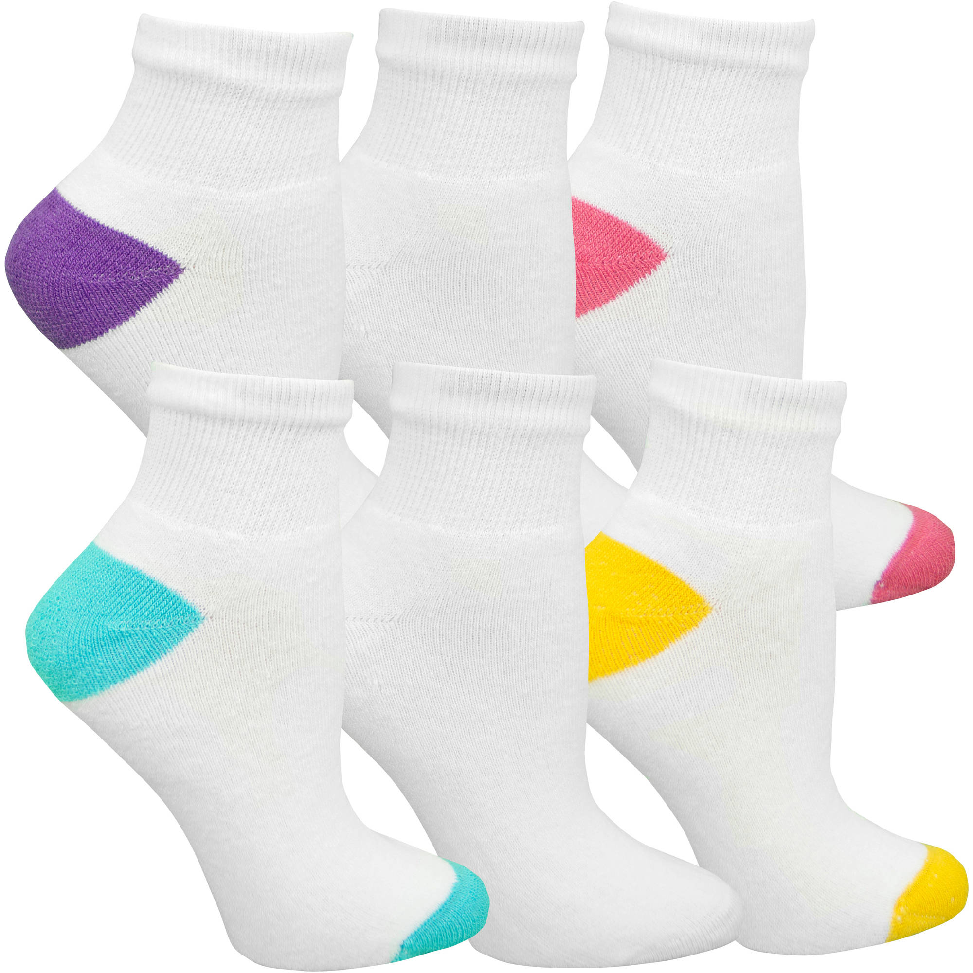 Fruit of the Loom Womens SoftSpun Ankle Socks - 6 Pairs
