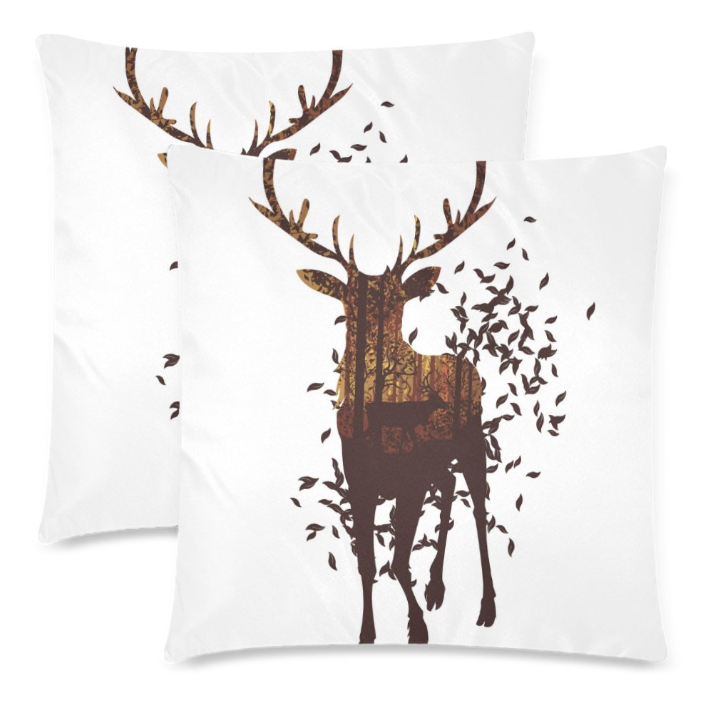 YKCG Animal Pillowcase Protector 18x18 Twin Sides, Abstract Deer with Autumn Leaves Zippered Pillow Case Covers Decorative, Set of 2