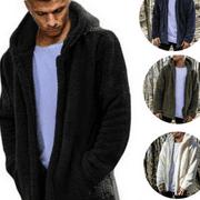 Men Winter Thick Hoodies Tops Fluffy Fleece Fur Jacket Hooded Coat Outerwear
