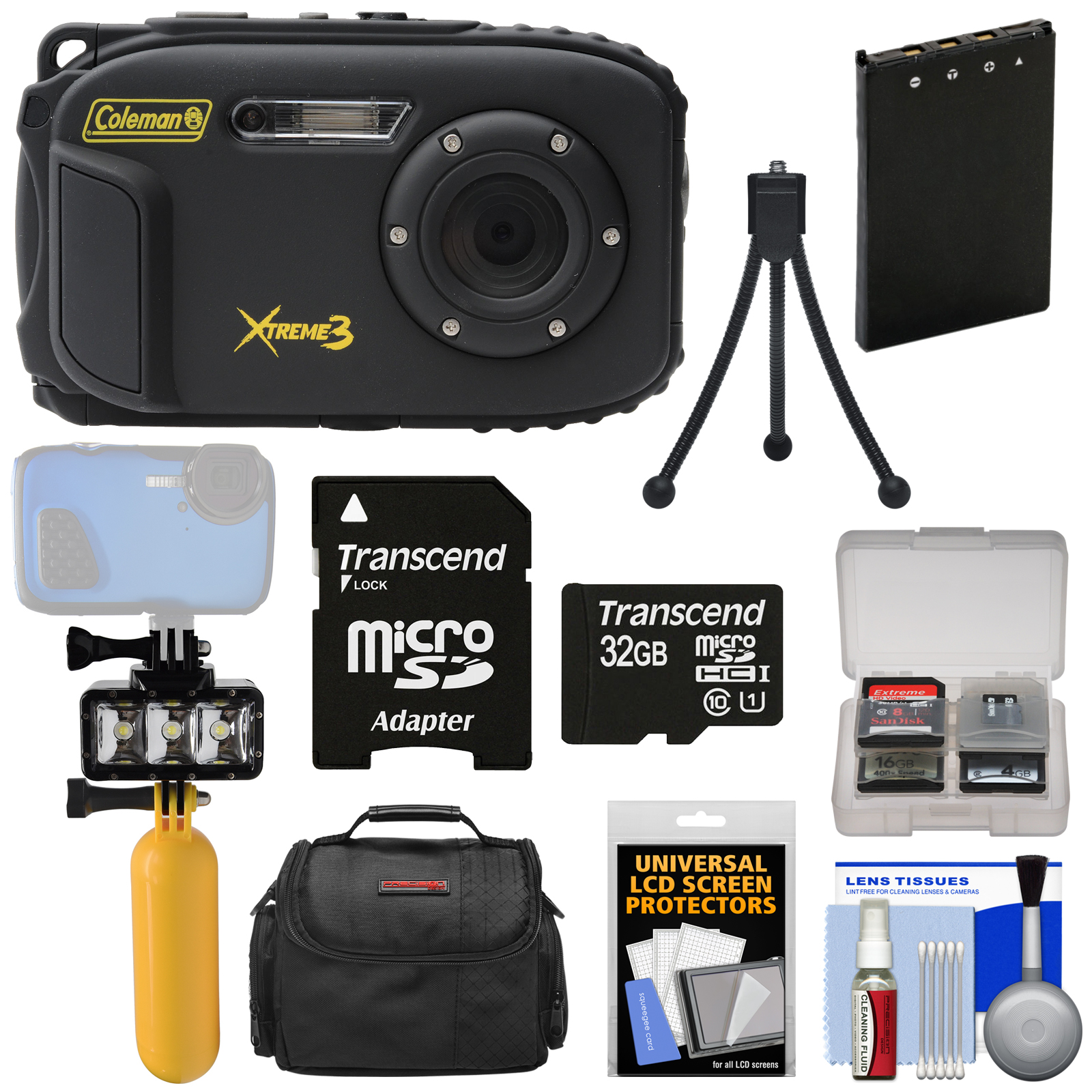 Coleman Xtreme3 C9WP Shock & Waterproof 1080p HD Digital Camera (Yellow) with 32GB Card + Battery + Diving LED Video Light + Buoy Handle + Case Kit