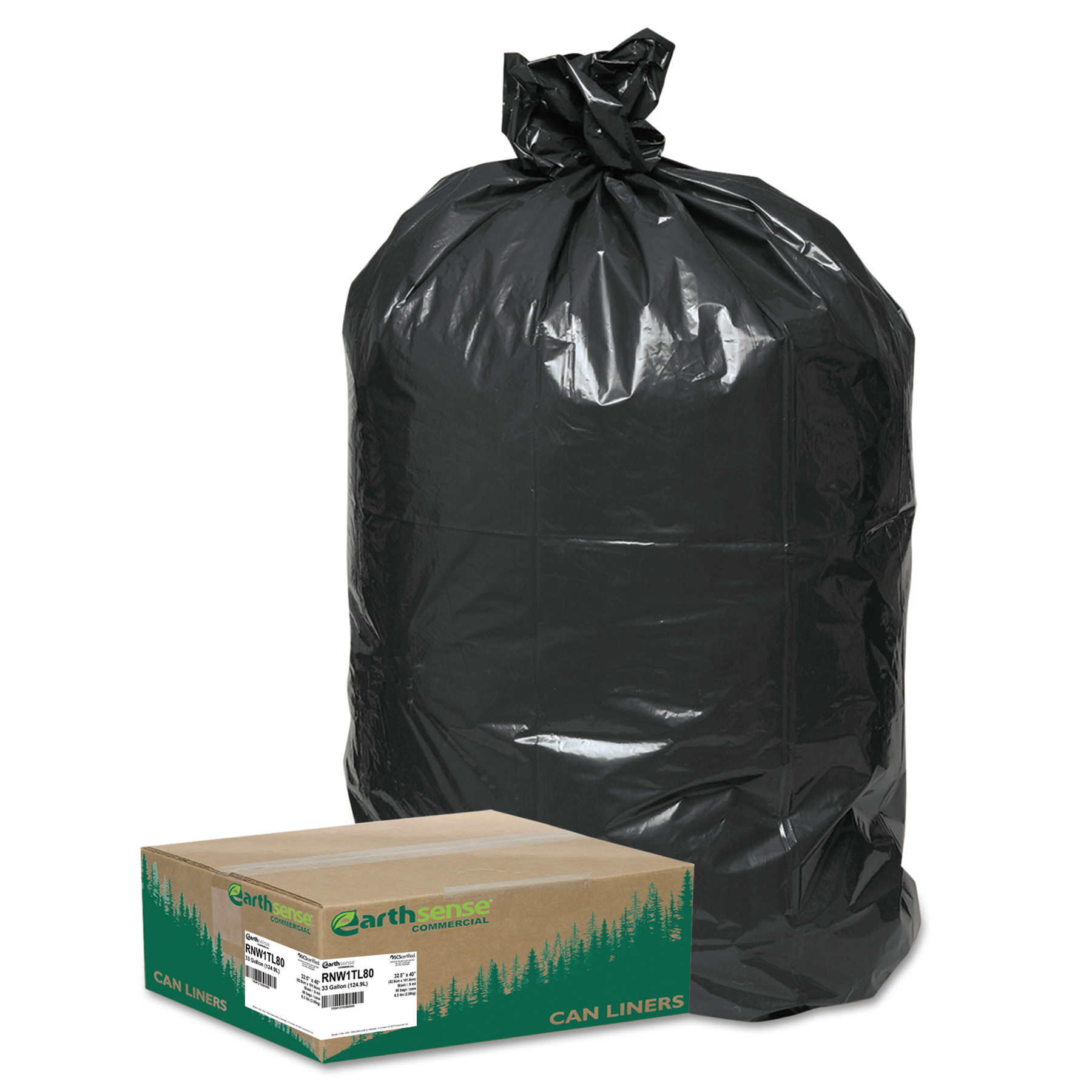 Earthsense Commercial Recycled Large Trash and Yard Bags, 33gal, .9mil, 32.5 x 40, Black, 80/Carton