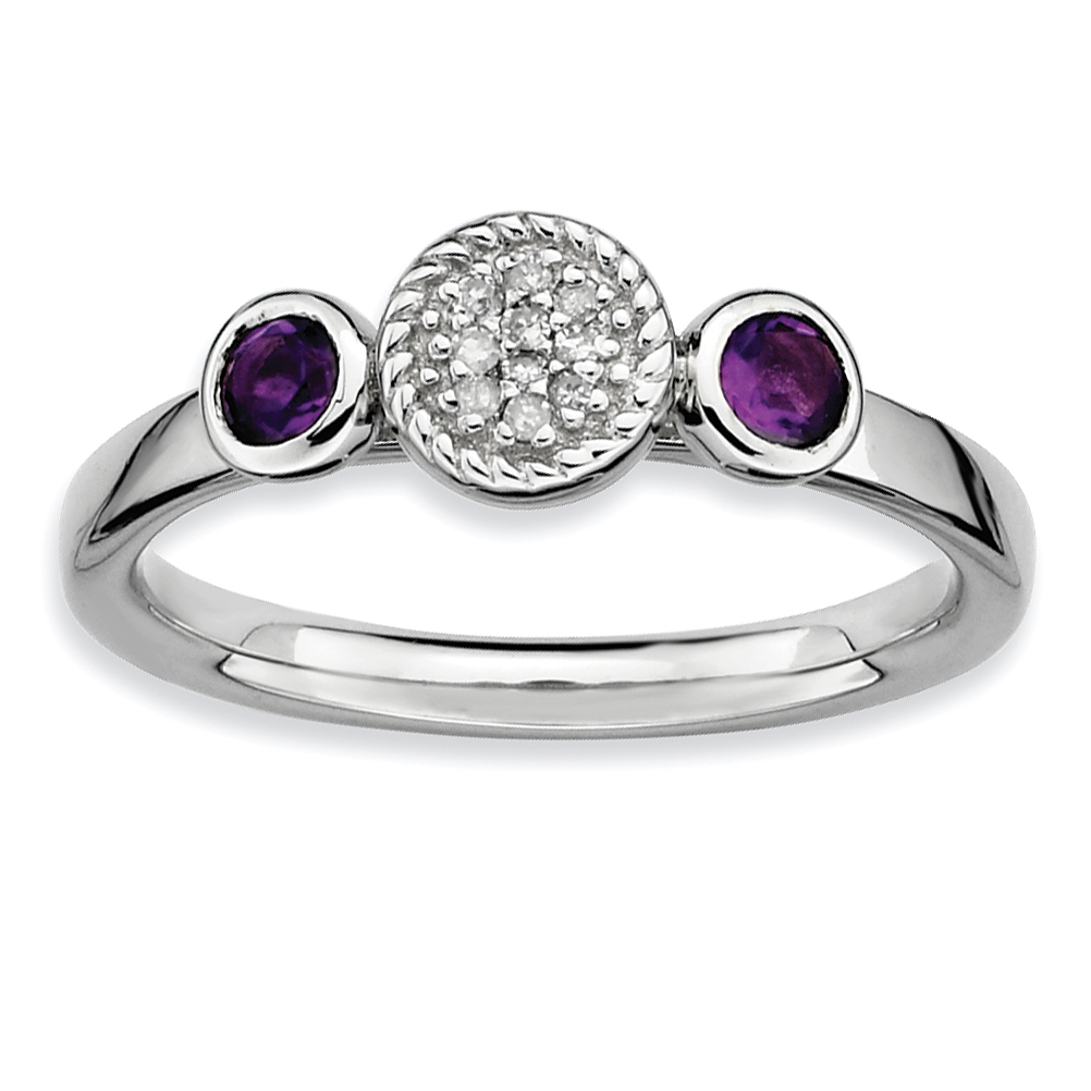 Roy Rose Jewelry Sterling Silver Stackable Expressions Double Round Amethyst and Diamond Ring ~ Size 7 by