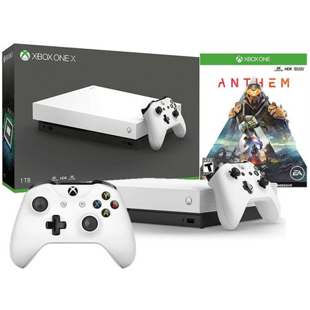 Xbox One X 1TB Anthem Limited White Bundle with Extra Controller - White