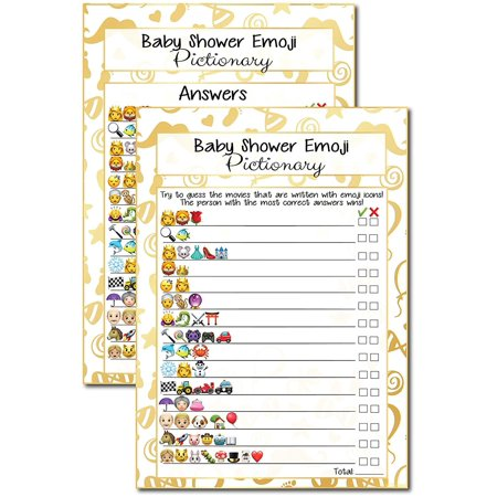 20 Kids Movie Emoji Pictionary Baby Shower Games Ideas For Moms, Dads, Kids, Girls or Boys, Couples, Adults, Fun Cute Shower Party Bundle Set, Gold Favor, Gender Neutral Unisex Funny Guessing Cards - Toddler Halloween Party Ideas Pinterest