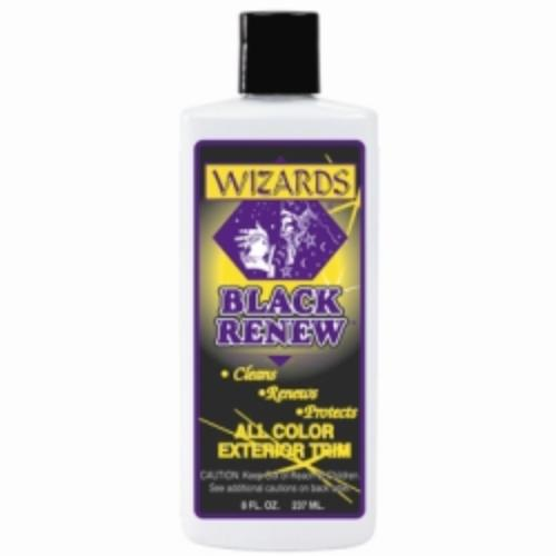 Wizard Products 66309 Black Renew Exterior Treatment, 8 Oz Bottle, Works On All Colors, Cleans And Renews Faded Trim