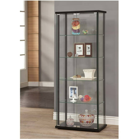 Cherry Carved Curio Cabinet - Coaster Company Curio Cabinet, Black and Glass