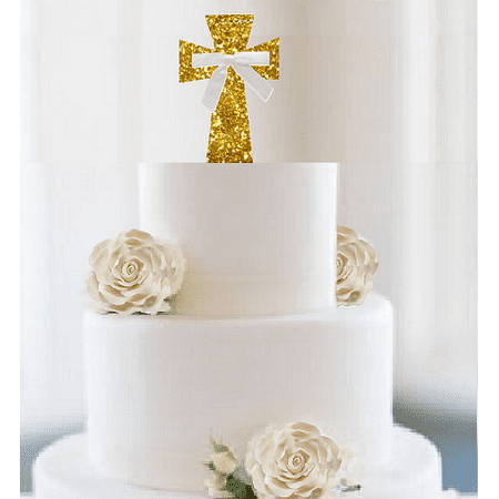 First Communion / Christening / Baptism / Wedding Cake & Cupcake Decoration Toppers Super Gold Glitter Cross with White Bow - First Communion Cupcakes