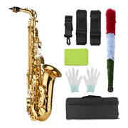 Muslady AS100 Eb Alto Saxophone Brass Lacquered Alto Sax Wind Instrument with Carry Case Gloves Straps Cleaning Cloth Brush